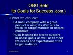 obo sets its goals for success cont14