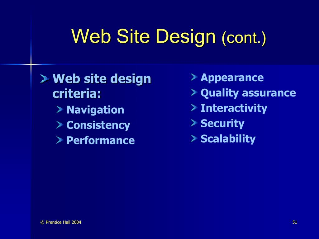 Web site design criteria: