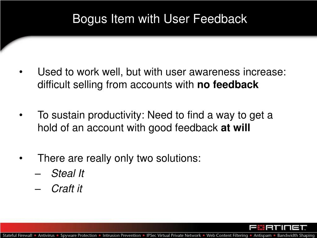 Bogus Item with User Feedback