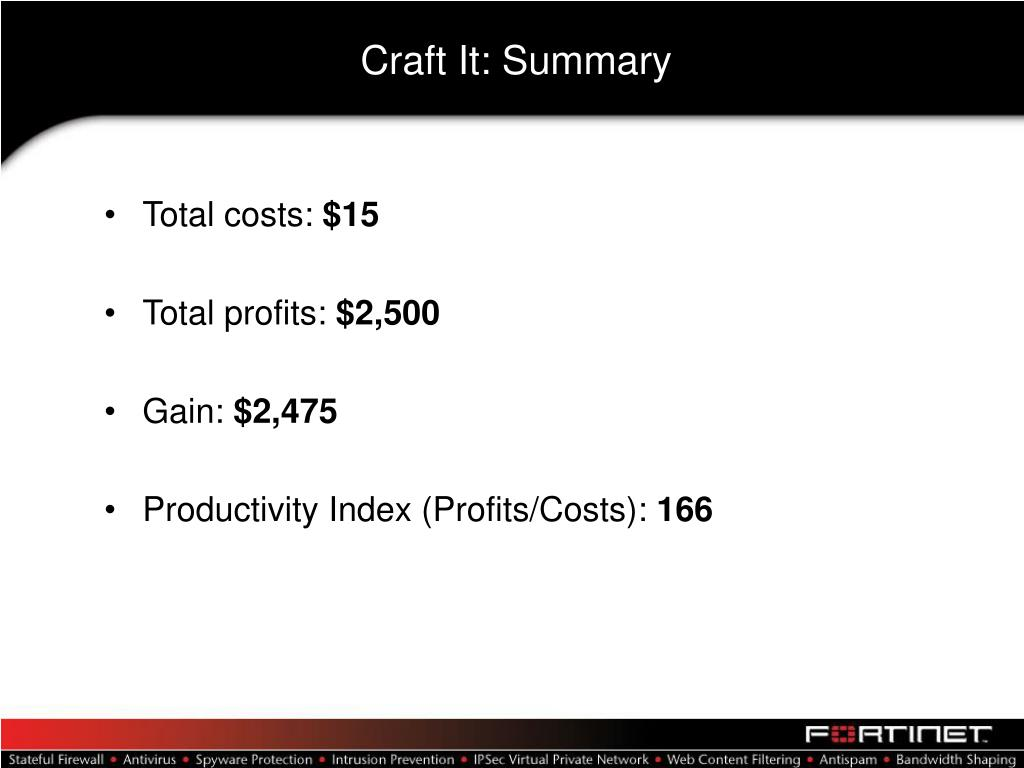 Craft It: Summary