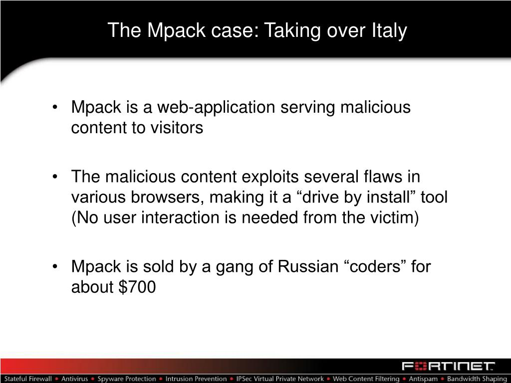 The Mpack case: Taking over Italy