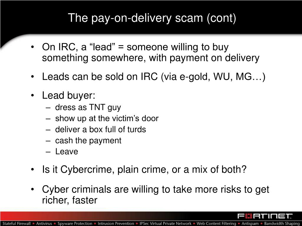 The pay-on-delivery scam (cont)