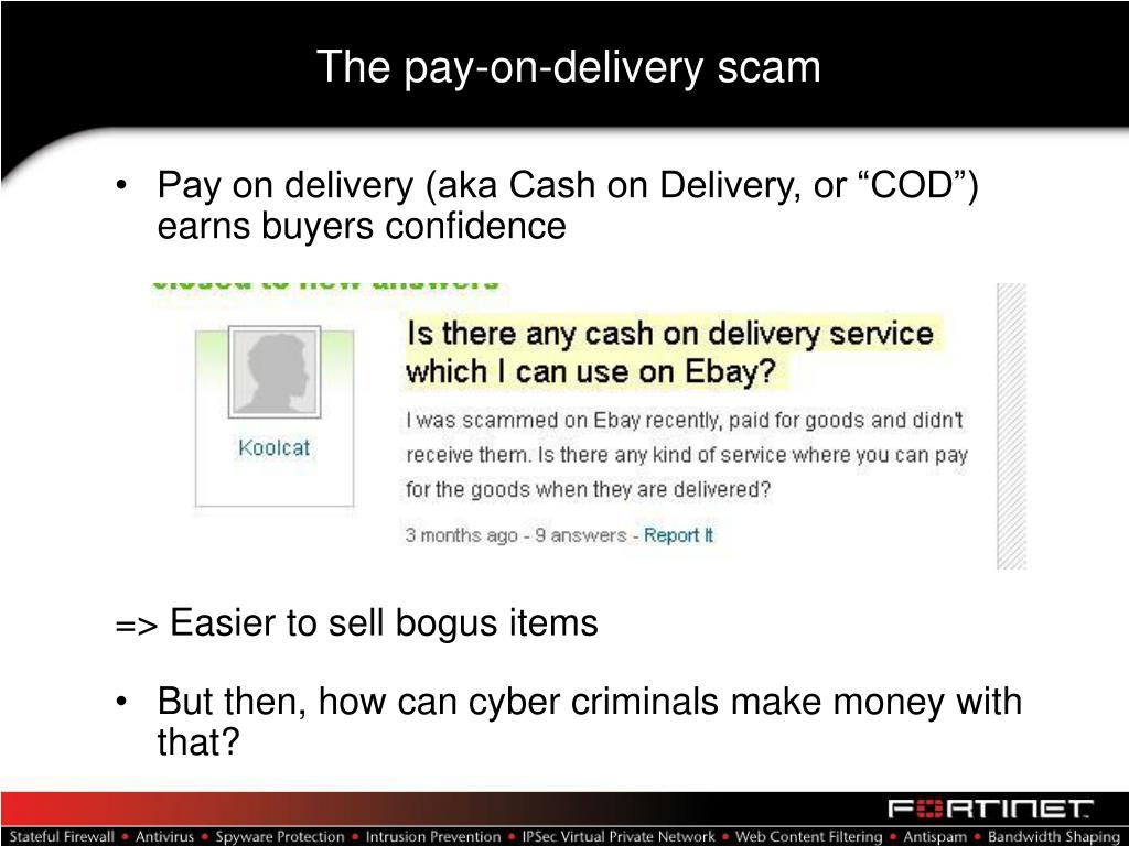 The pay-on-delivery scam