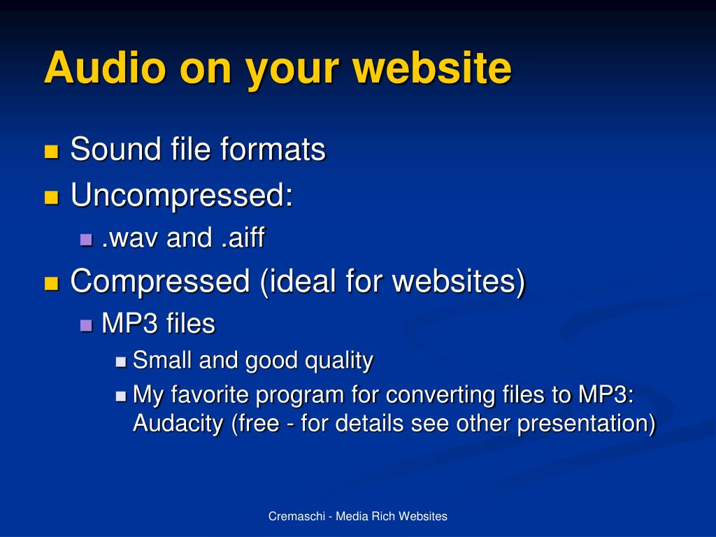 Audio on your website