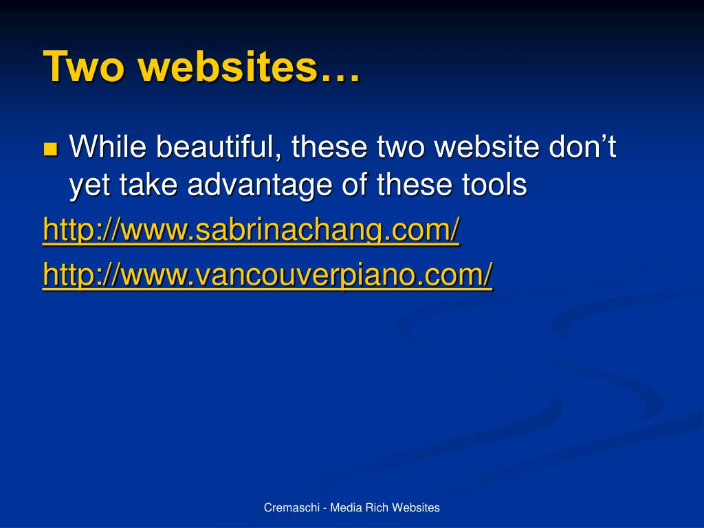 Two websites…