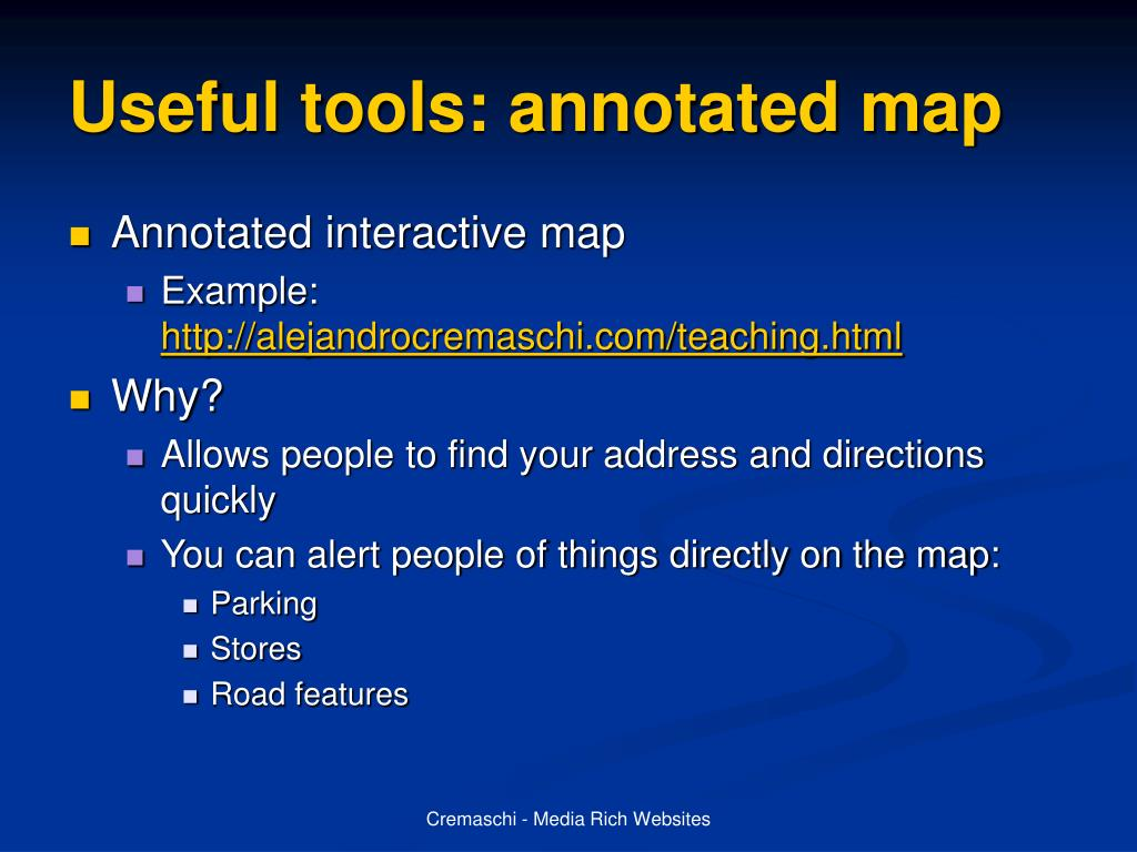 Useful tools: annotated map