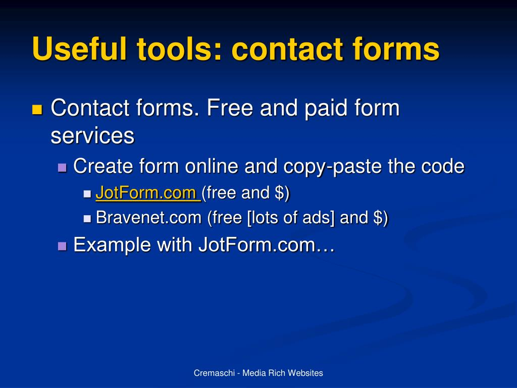 Useful tools: contact forms