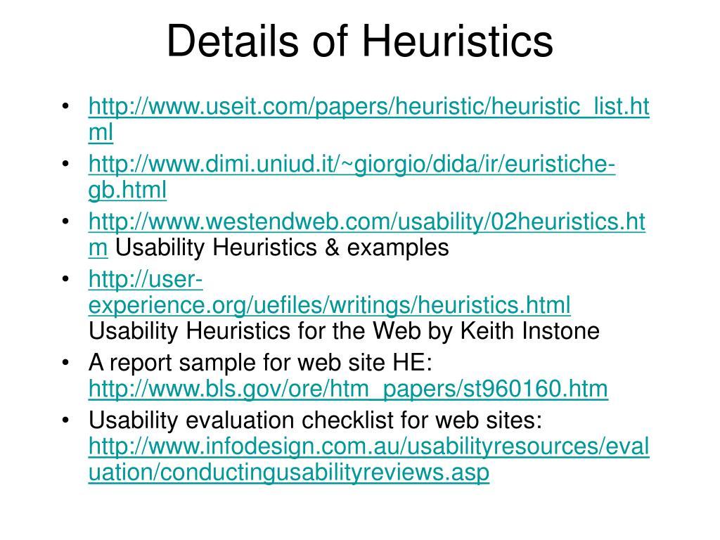 Details of Heuristics