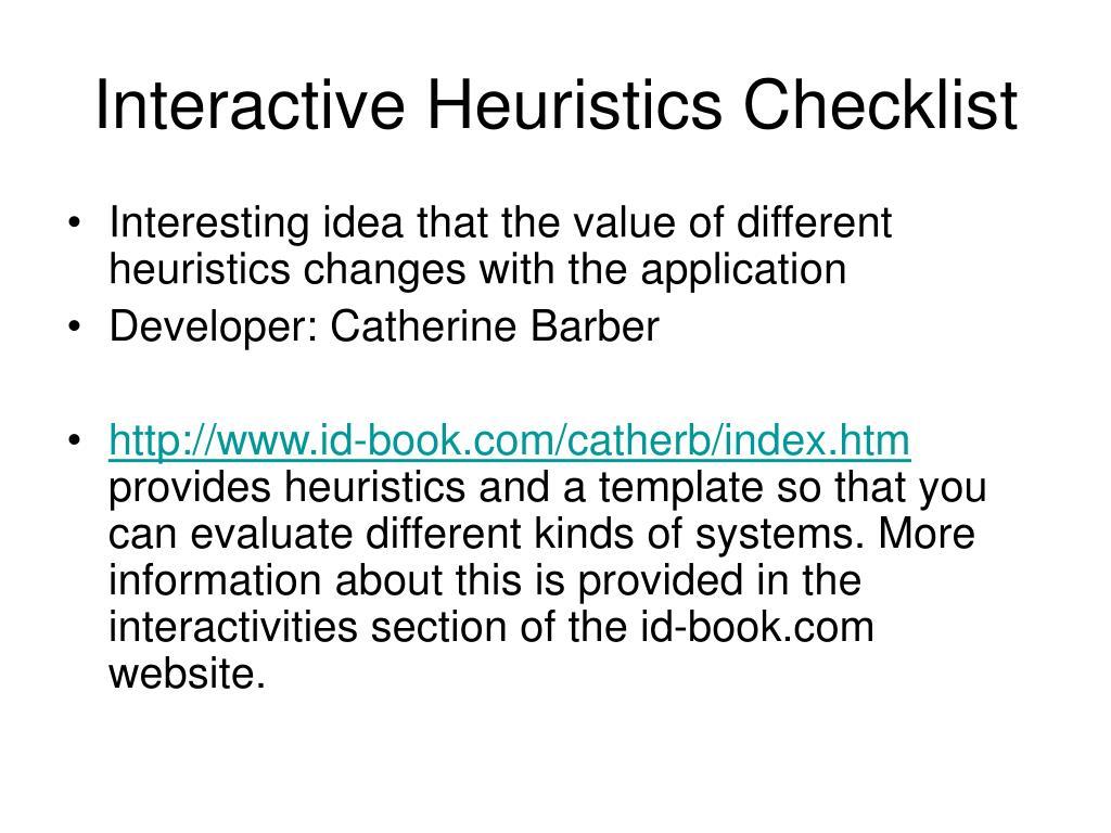 Interactive Heuristics Checklist