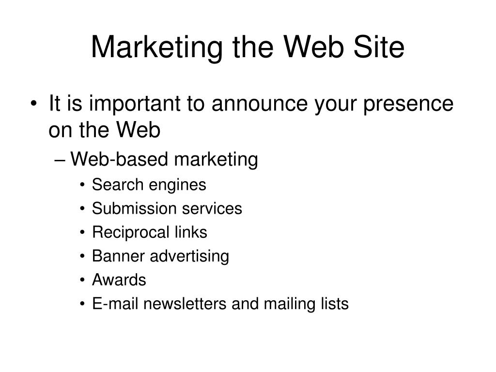 Marketing the Web Site