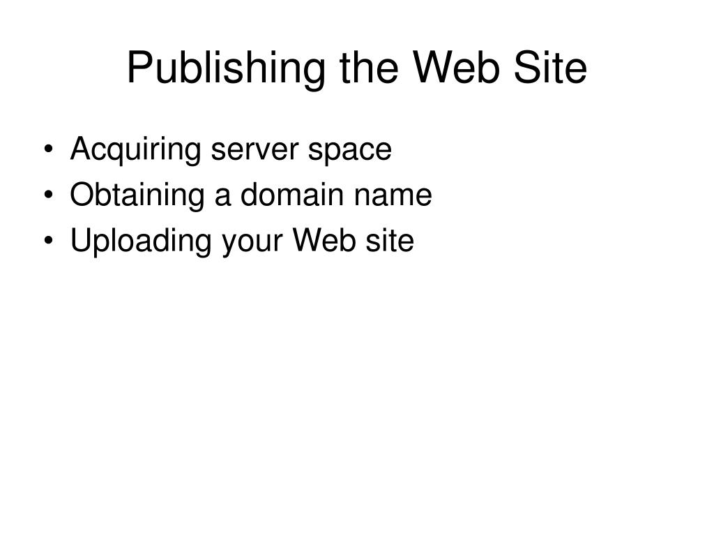 Publishing the Web Site