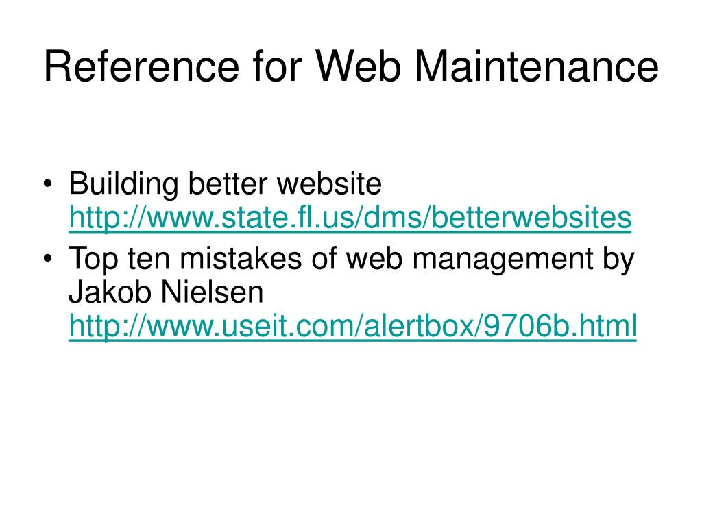 Reference for Web Maintenance