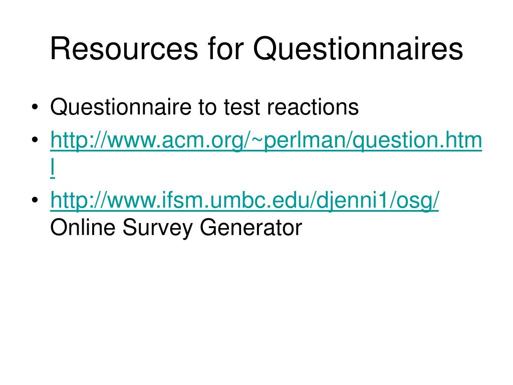 Resources for Questionnaires