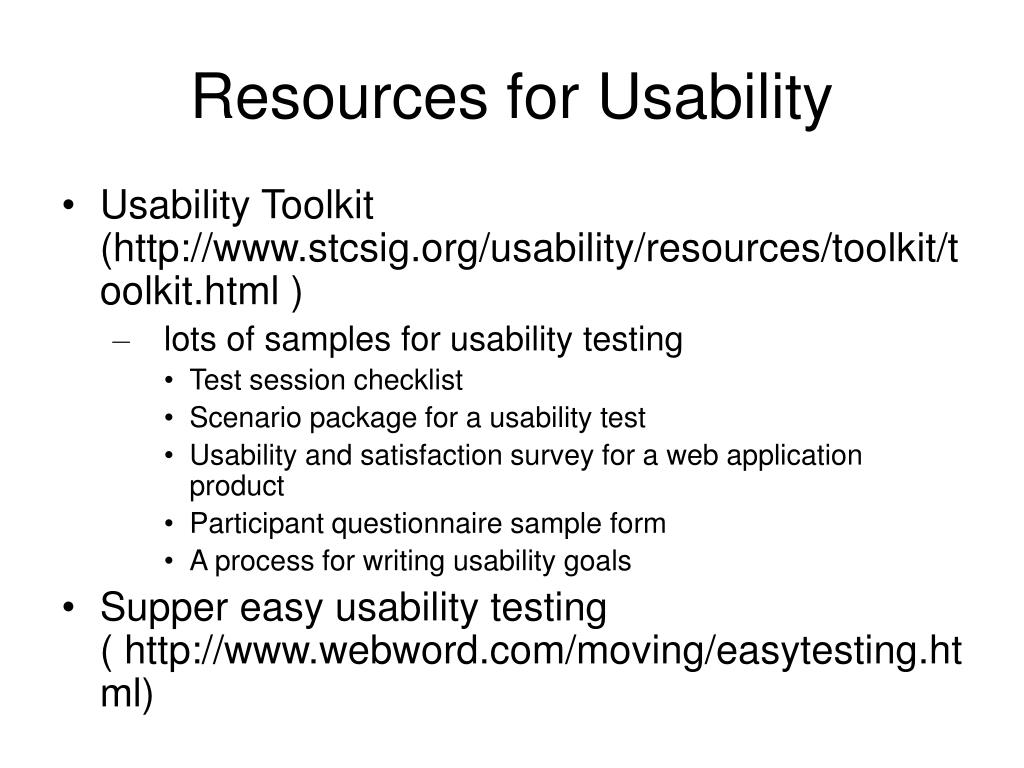 Resources for Usability