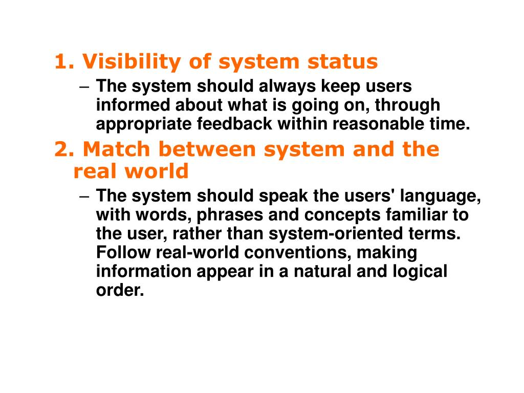 1. Visibility of system status