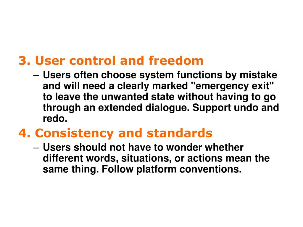 3. User control and freedom