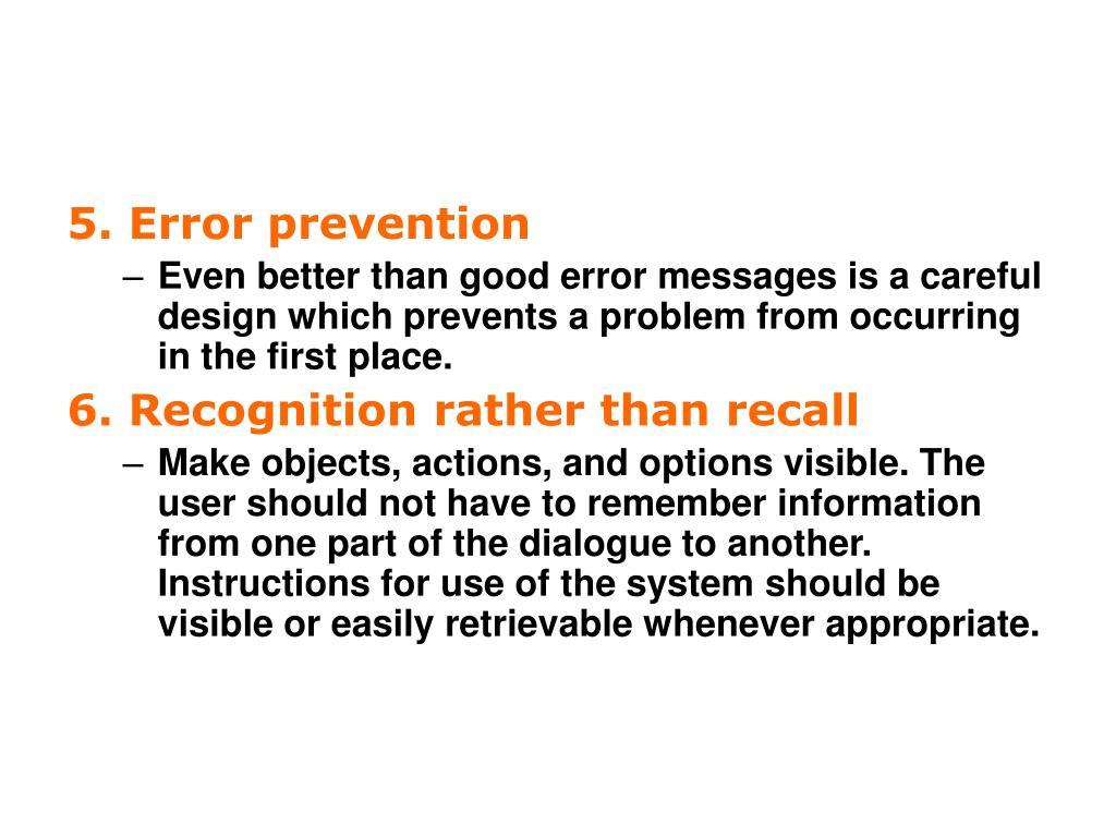 5. Error prevention