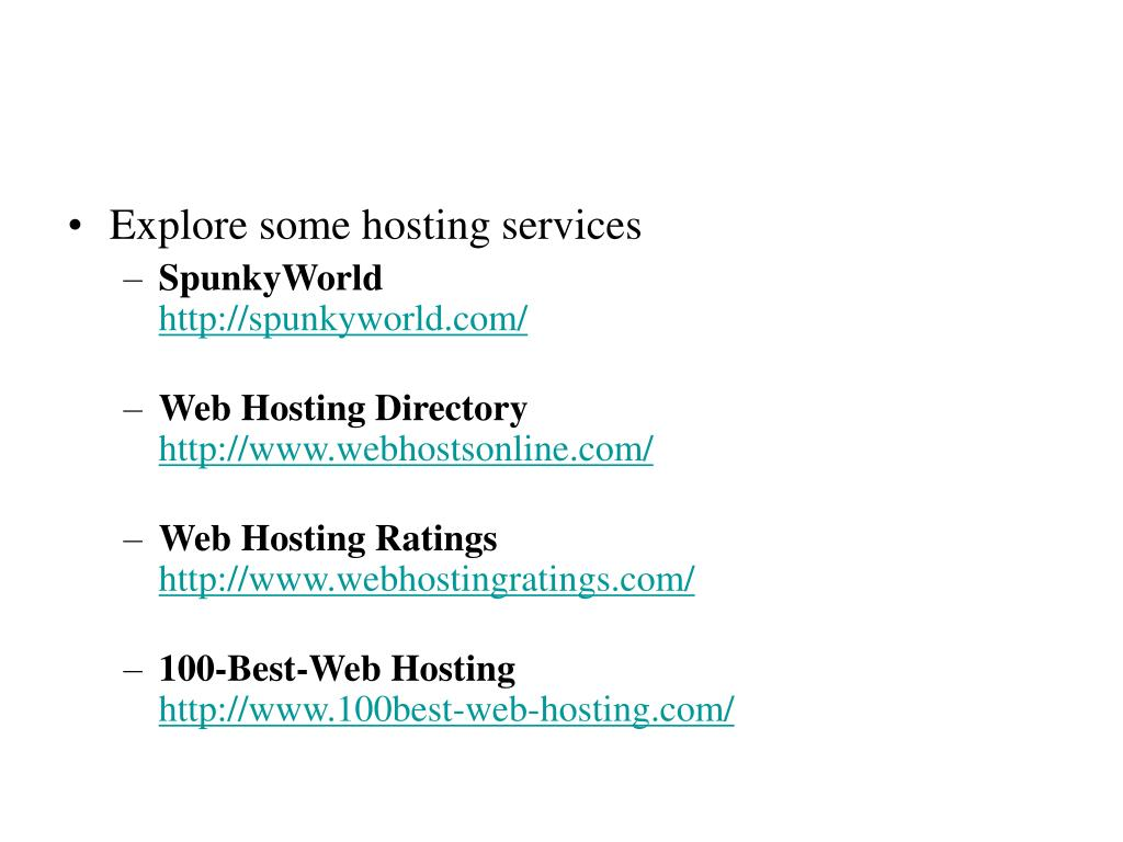 Explore some hosting services