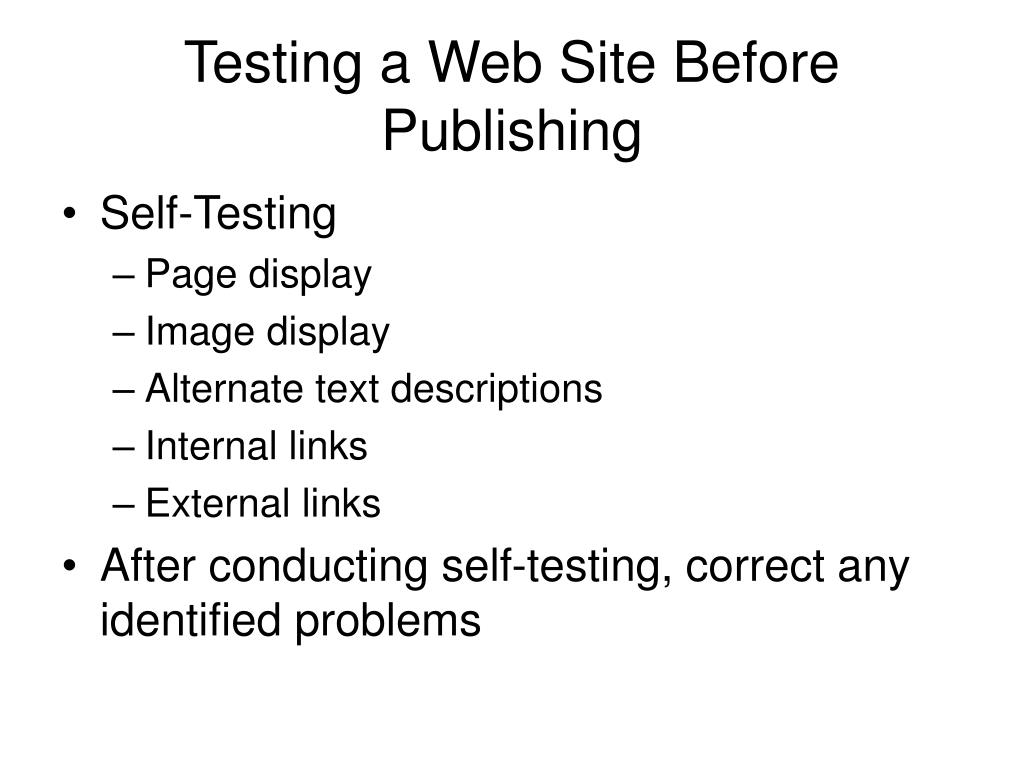 Testing a Web Site Before Publishing