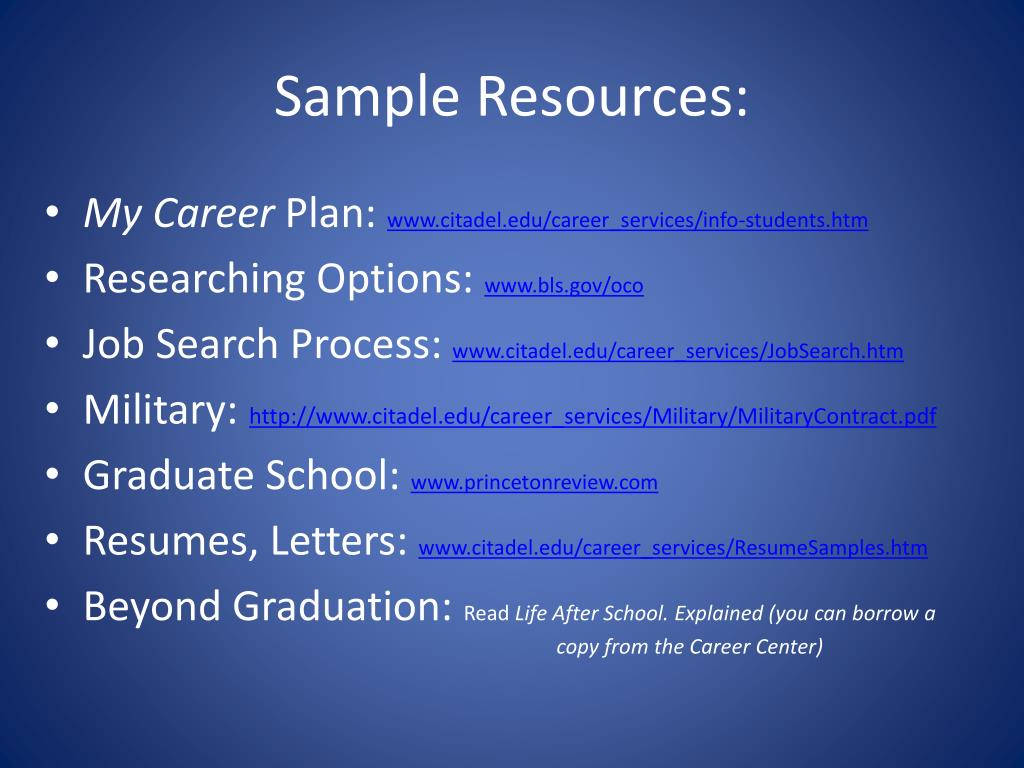 Sample Resources:
