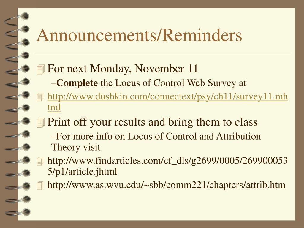 Announcements/Reminders
