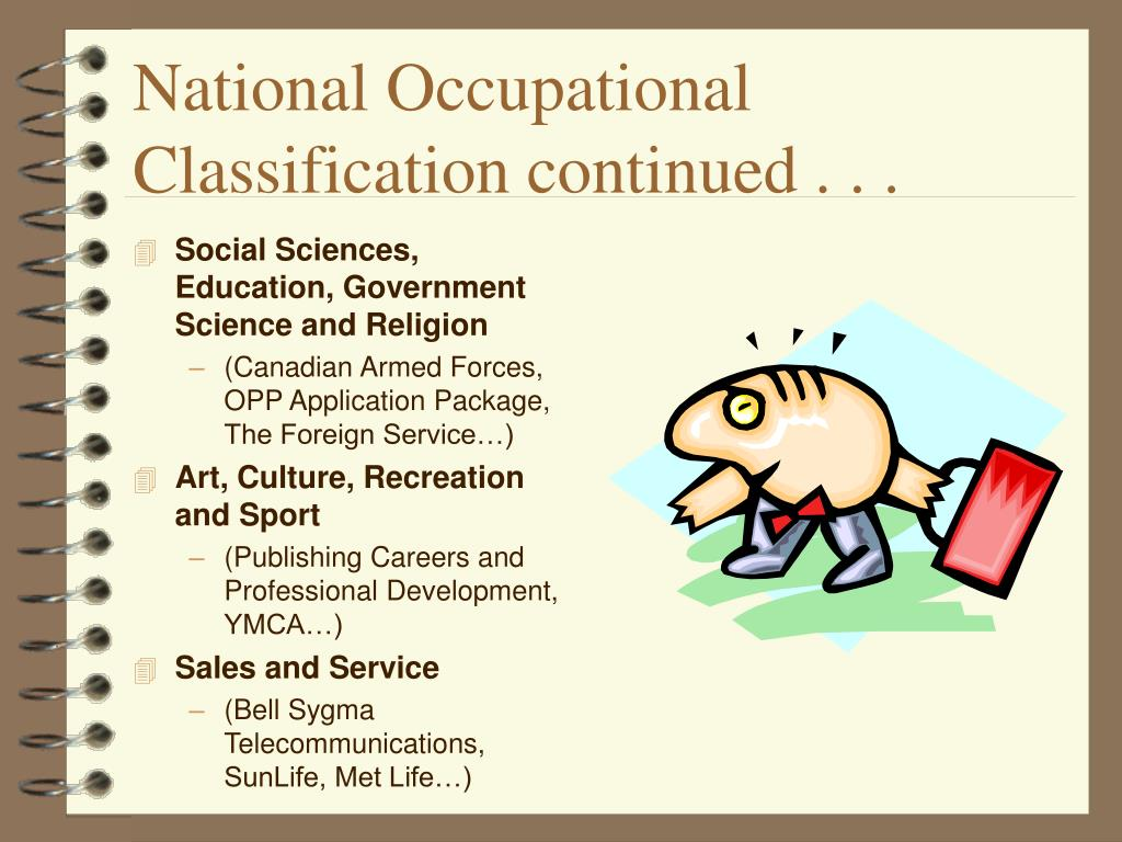 National Occupational Classification continued . . .