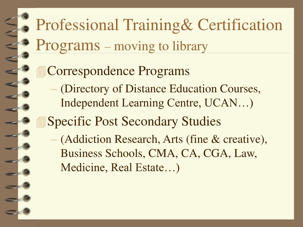 Professional Training& Certification Programs