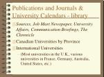 publications and journals university calendars library