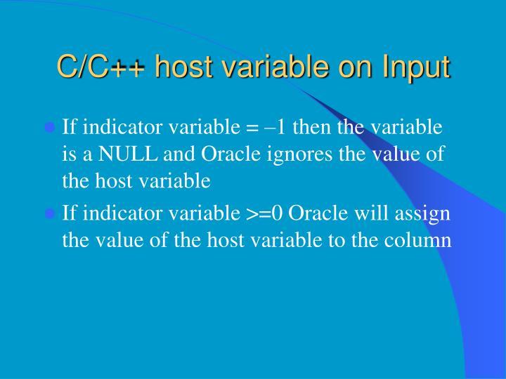C/C++ host variable on Input