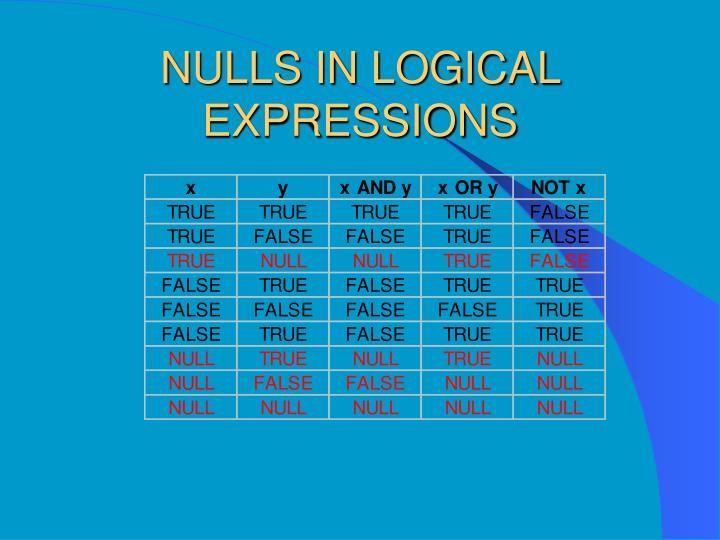 NULLS IN LOGICAL EXPRESSIONS