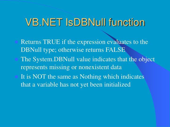 VB.NET IsDBNull function