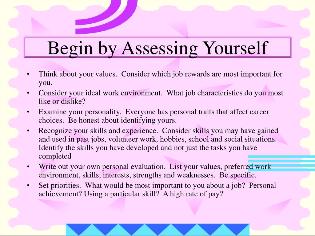 Begin by Assessing Yourself