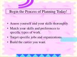begin the process of planning today