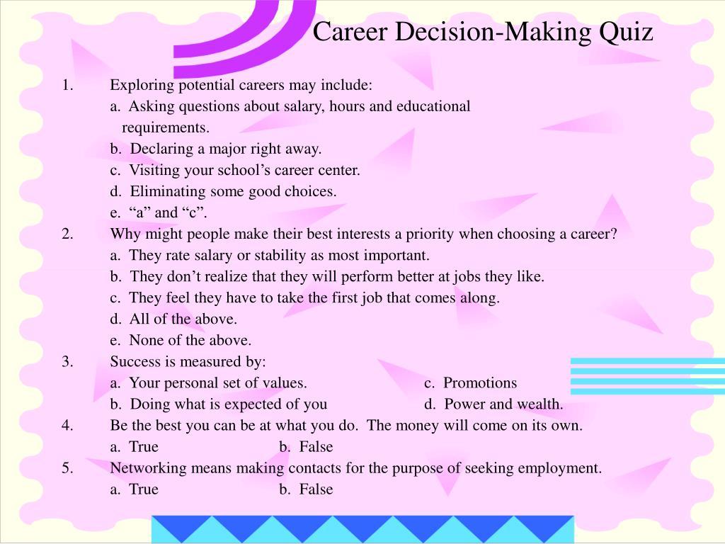 Career Decision-Making Quiz