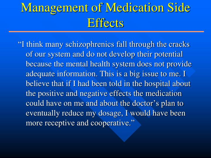 Management of Medication Side Effects