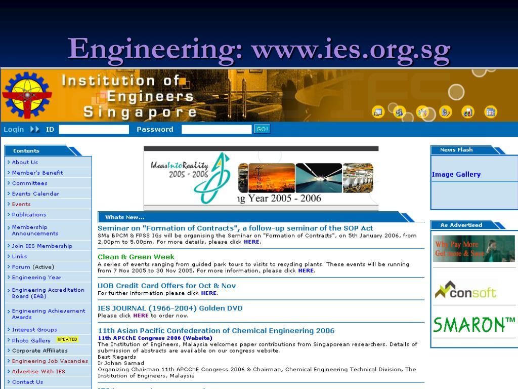 Engineering: www.ies.org.sg
