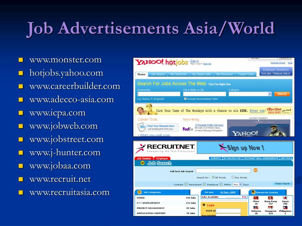 Job Advertisements Asia/World