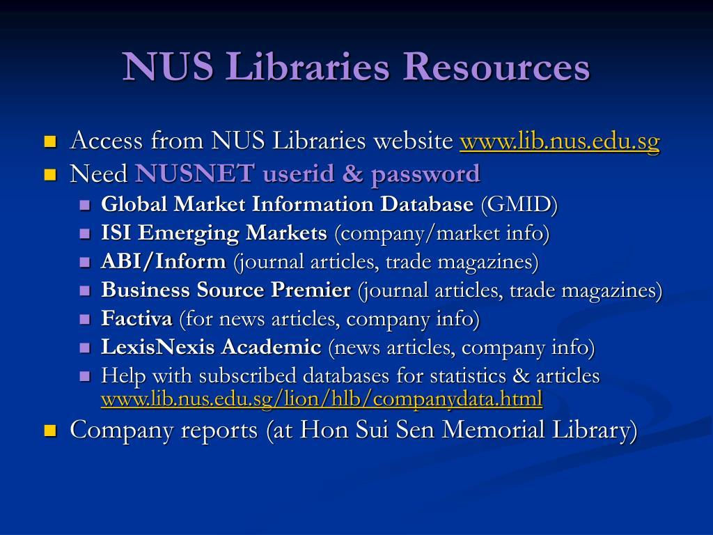 NUS Libraries Resources