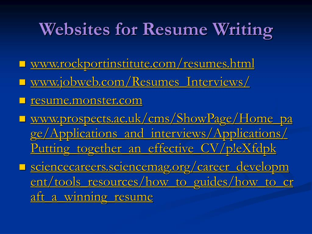 Websites for Resume Writing