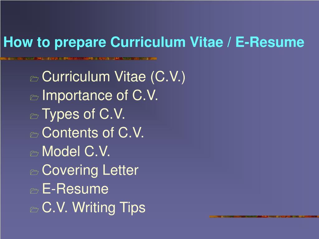 How to prepare Curriculum Vitae / E-Resume