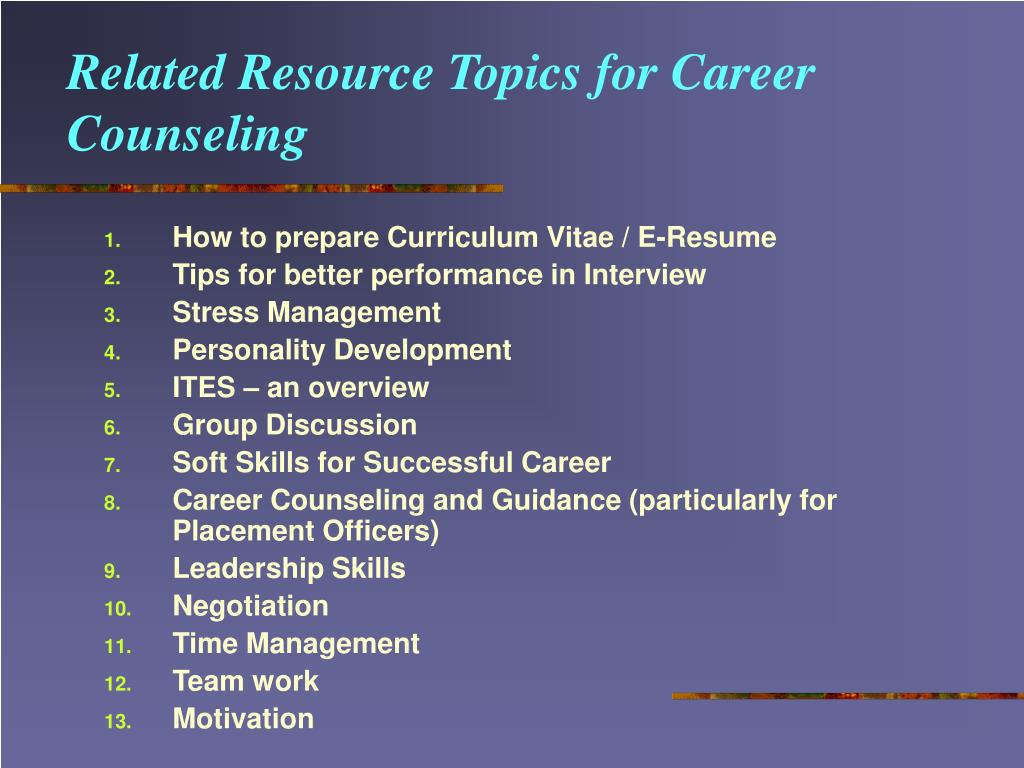 Related Resource Topics for Career Counseling