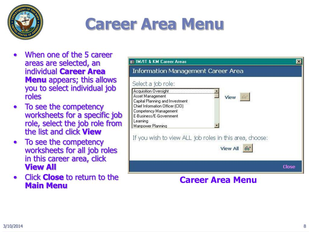 Career Area Menu