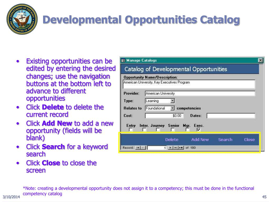 Developmental Opportunities Catalog