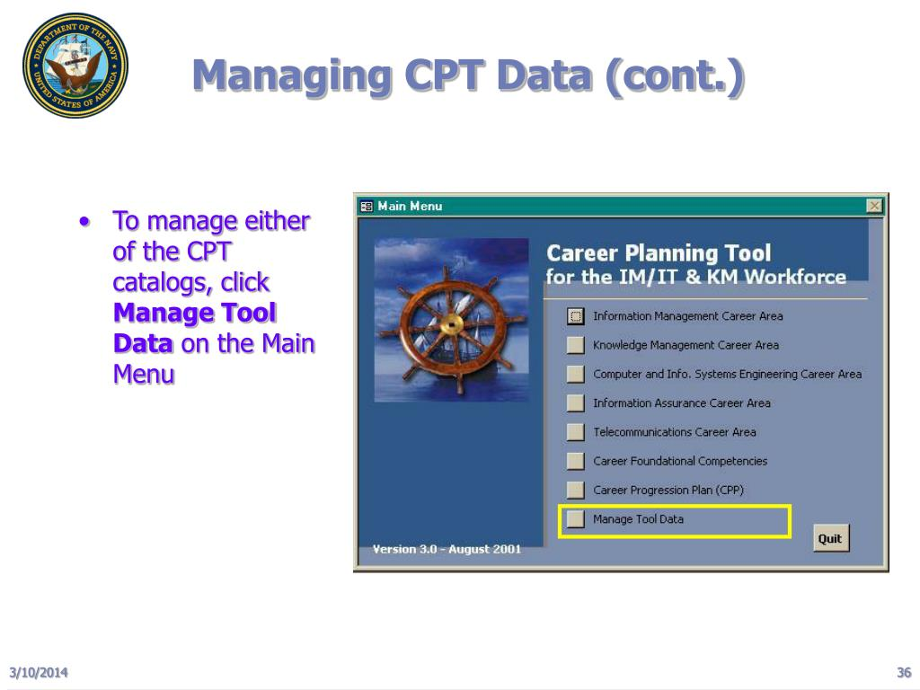 Managing CPT Data (cont.)