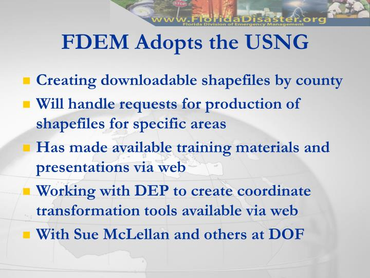 FDEM Adopts the USNG