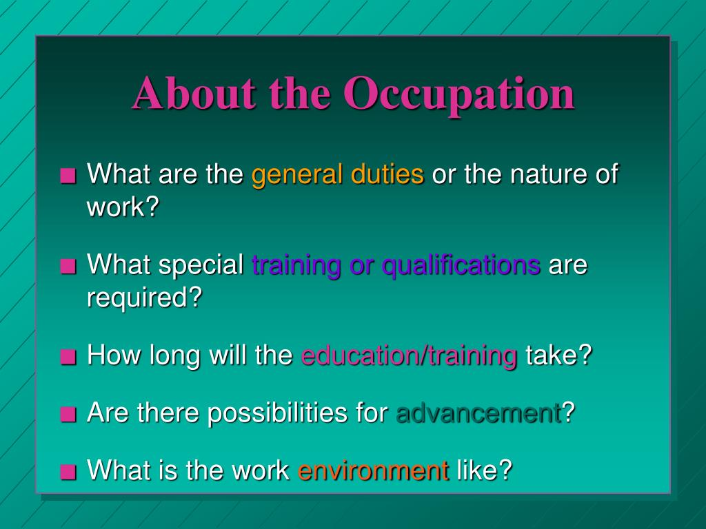 About the Occupation