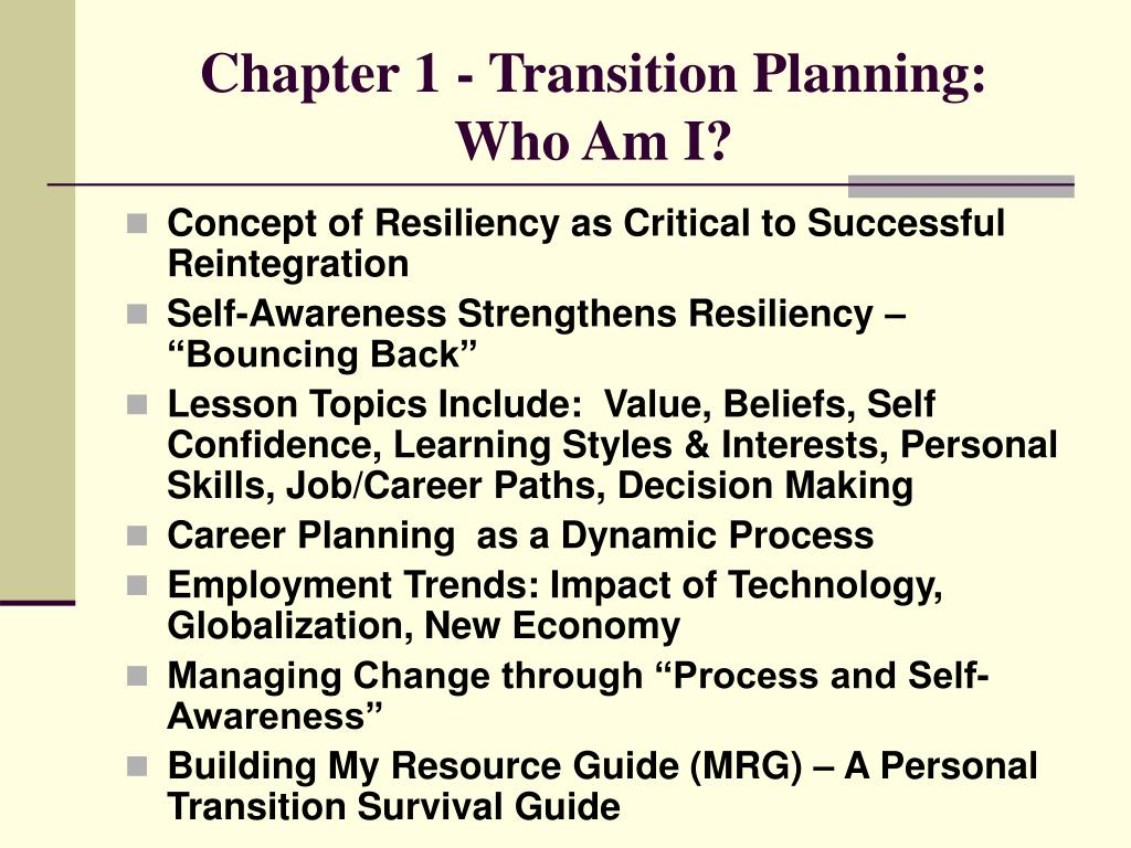 Chapter 1 - Transition Planning: