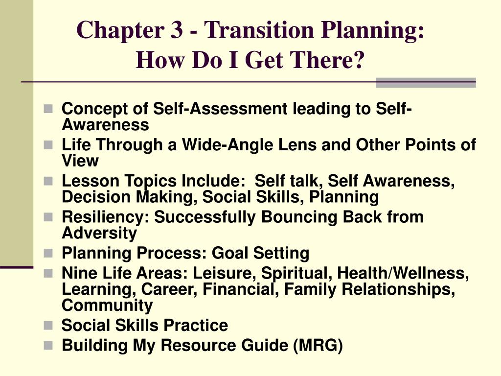 Chapter 3 - Transition Planning: