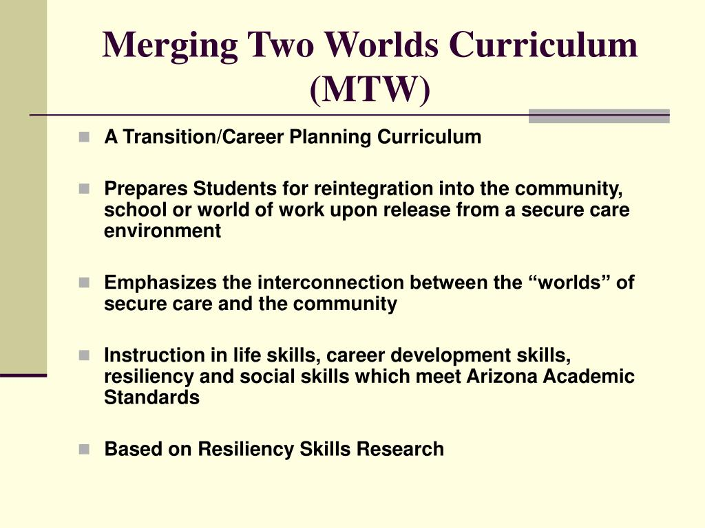 Merging Two Worlds Curriculum