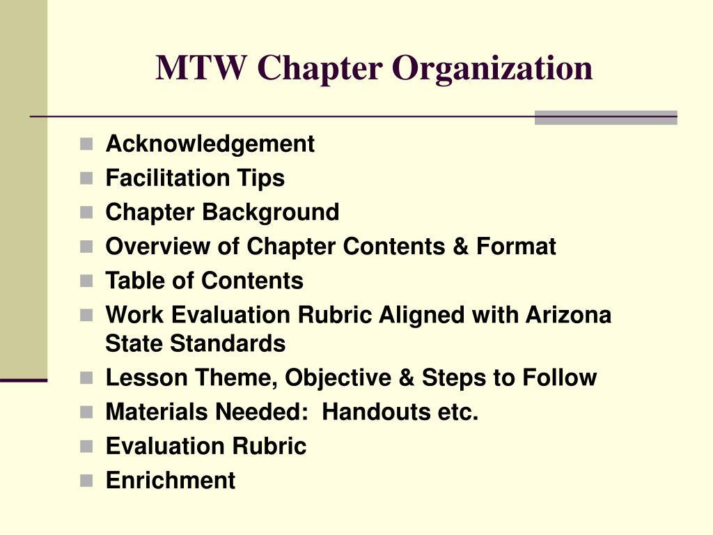 MTW Chapter Organization